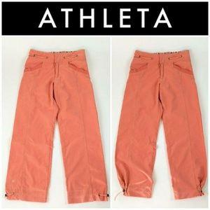ATHLETA 4P Convertible Pants Capris Joggers CORAL